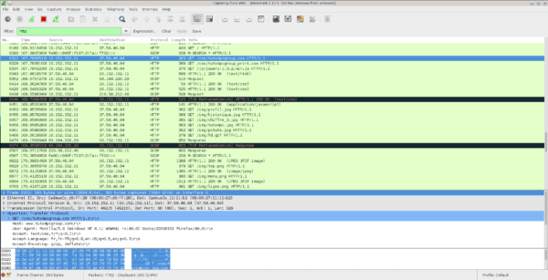 Wireshark listening on eth1 on the Whonix Gateway.