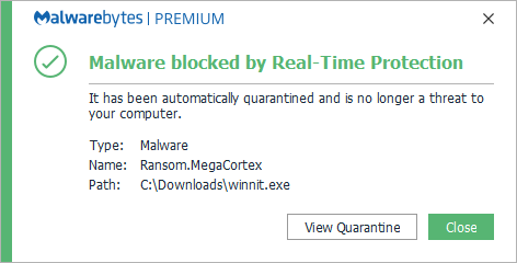 malwarebytes blocks Megacortex