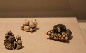 View of three netsuke, Asian galleries