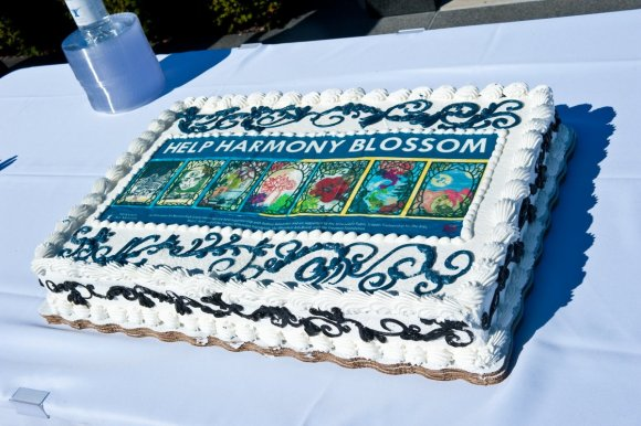 The cake with the mural on it was almost a bigger hit than the bus itself... Photo by Mark Hines