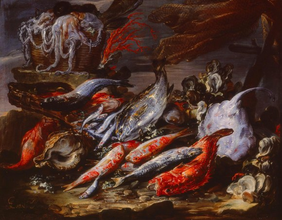 Gaetano Cusati (Italian, died ca. 1720).  Still Life with Fish.  Oil on canvas.  Milwaukee Art Museum, gift of Dr. and Mrs. Alfred Bader, M1966.141. Photo credit: John R. Glembin.