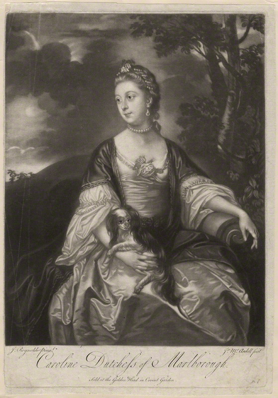 By and sold by James Macardell, after Sir Joshua Reynolds, Lady Caroline Spencer (née Russell), Duchess of Marlborough, early 1760s (circa 1759-1762). Mezzotint, 14 1/8 in. x 9 7/8 in. National Portrait Gallery, Acquired Unknown source, 1961.