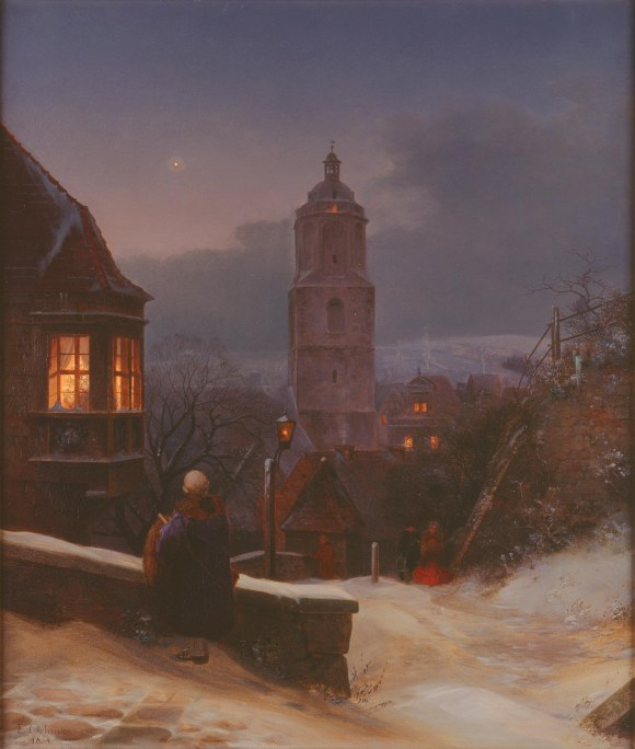 Ernst Ferdinand Oehme (German, 1797–1855), Meissen in Winter, 1854. Oil on canvas; 27 x 23 in. Milwaukee Art Museum, Gift of the René von Schleinitz Foundation M1962.105. Photo credit P. Richard Eells.