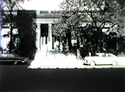 Film still: Exterior of the Layton Art Gallery, circa 1957. Milwaukee Art Museum, Institutional Archives.