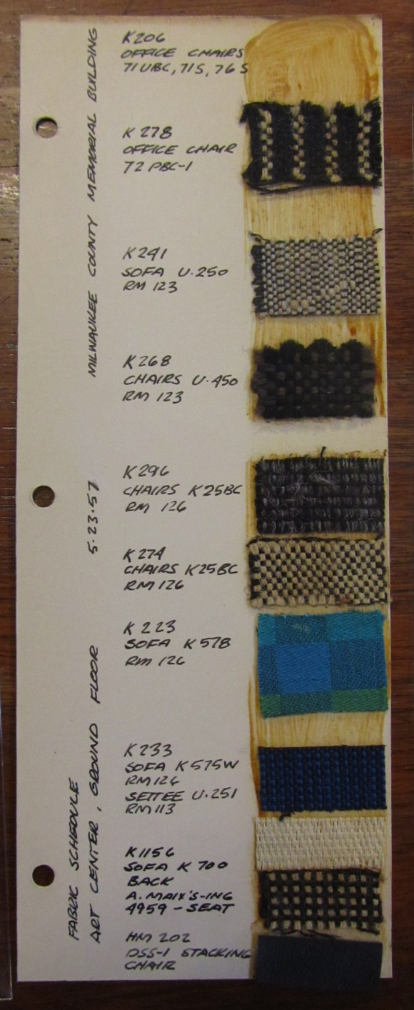 Author's snapshot of Saarinen's design material samples for the Milwaukee Co. War Memorial Building. Taken in Eero Saarinen collection, Manuscripts & Archives, Yale University.