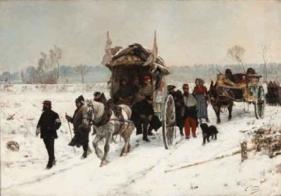 Edouard Castres (Swiss, 1838–1902). Convoy of Wounded (Franco-Prussian War 1870), 1870/71. Oil on canvas. Milwaukee Art Museum, Layton Art Collection, Gift of Frederick Layton. Photo credit John R. Glembin