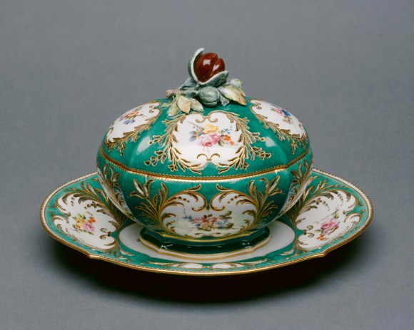 Sèvres Porcelain Manufactory (Sèvres, France, established in 1756), painted by Denis Levé (French, active 1754–1805). Covered Chestnut Bowl and Stand (marronière), 1757–58. Soft paste porcelain, vert ground color, polychrome enamels, and gilding tureen. Bequest of Mrs. Arthur J. Riebs given in memory of her father C.W. George Everhart, and her mother Lillian Boynton Everhart. Photo credit John R. Glembin