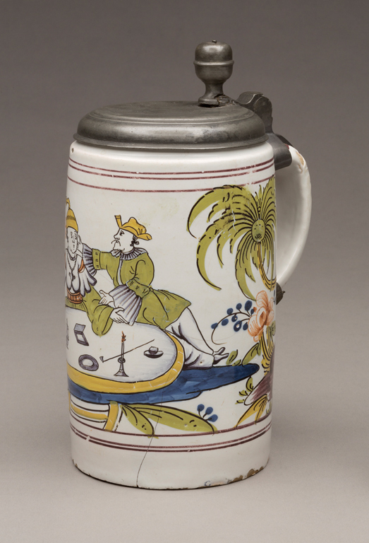 Probably Thuringia, Germany, Tankard, before 1754. Tin-glazed earthenware with polychrome decoration and pewter. Milwaukee Art Museum, Gift of Mrs. Albert Finkler M1937.26. Photo credit: John R. Glembin