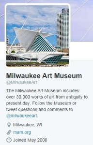 Screenshot of the Milwaukee Art Museum Twitter page, @MilwaukeeArt