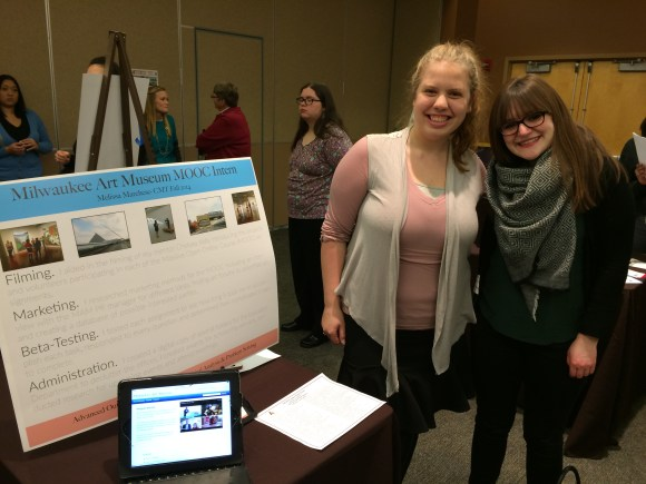 Melissa and Chelsea at the Alverno Internship Poster Fair. Photo by Jodi Eastberg