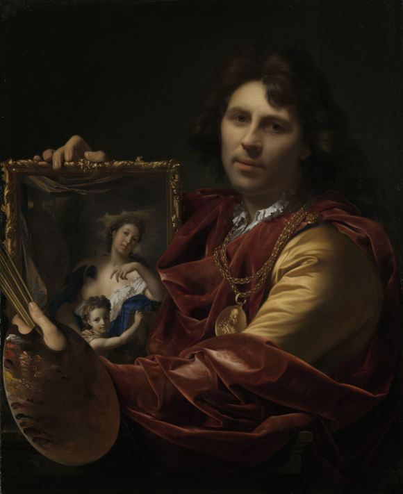 Adriaen van der Werff (Dutch, 1659–1722). Self-portrait with the Portrait of his Wife, Margaretha van Rees, and their Daughter Maria, 1699. Oil on canvas. Rijksmuseum, Amsterdam, SK-A-465.