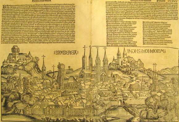 Michael Wolgemut (German, 1434/37–1519) and Wilhelm Pleydenwurff (German, ca. 1460–ca. 1494), printed by Anton Koberger (German, ca. 1445–1513) and Johannes Schoensperger (German, active ca. 1480–1520), View of Bamberg; pages 174–5 from the book The Nuremberg Chronicle (Weltchronik) compiled by Hartmann Schedel, 1490s. Woodcut. Milwaukee Art Museum, Purchase, Gertrude Nunnemacher Schuchardt Fund, presented by William H. Schuchardt M1970.51. Photo credit: Tina Schinabeck.