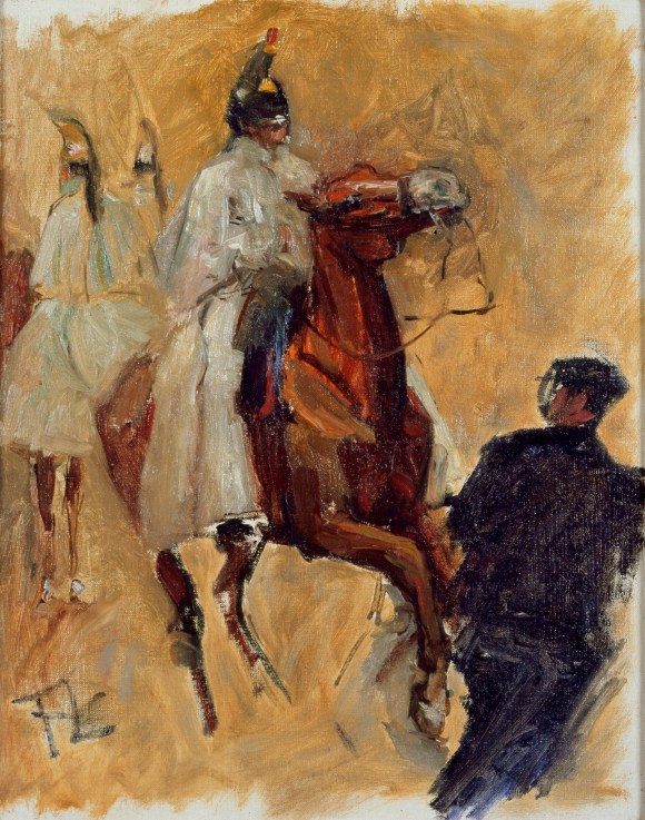 Henri de Toulouse-Lautrec (French, 1864–1901), Three Cuirassiers, 1879. Oil on canvas. Milwaukee Art Museum, Gift of Mrs. Harry Lynde Bradley M1977.149. Photo credit: John R. Glembin.