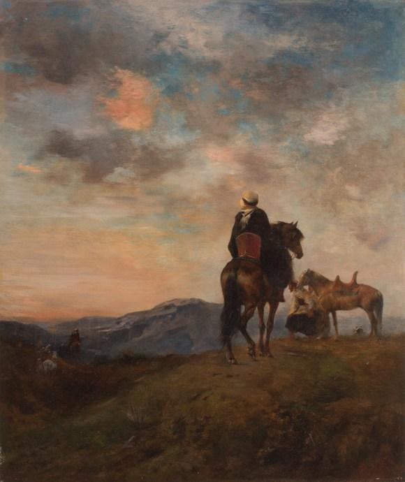 Eugène Fromentin (French, 1820–1876), Arabs (Cavaliers Arabes en observations dans la montagne), 1873. Oil on panel. Milwaukee Art Museum, Layton Art Collection, Inc., Gift of Mr. and Mrs. Arthur N. McGeoch, Sr. L1941.7. Photo credit: John R. Glembin.