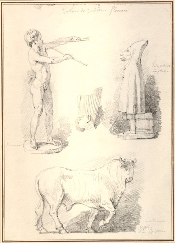 Jean-Honoré Fragonard (French, 1732–1806), Studies from ancient sculpture in the Galleria degli Uffizi, Forence, 1761. Black chalk. The British Museum 1936,0509.9 © Trustees of the British Museum.