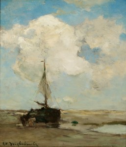 Jan Hendrik Weissenbruch (Dutch, 1824–1903), Low Tide at Zeeland, Scheveningen, ca. 1900. Oil on wood panel. Milwaukee Art Museum, Gift of the Samuel O. Buckner Collection M1919.28. Photo credit: John R. Glembin.