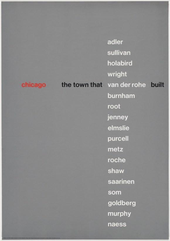 John Rieben (American, b. 1935), Chicago, the Town that Van der Rohe Built, 1966. Screenprint 50 × 35 in. (127 × 88.9 cm) Lent by John Rieben.