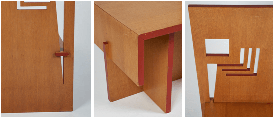 Details of the Usonian Exhibition House Dining Chair showing its construction and cut-out decoration.
