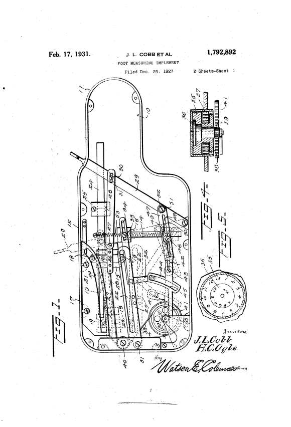 """Detail of U.S. utility patent 1,792,892 for """"foot measuring implement,"""" 1931. United States Patent and Trademark Office, www.uspto.gov."""