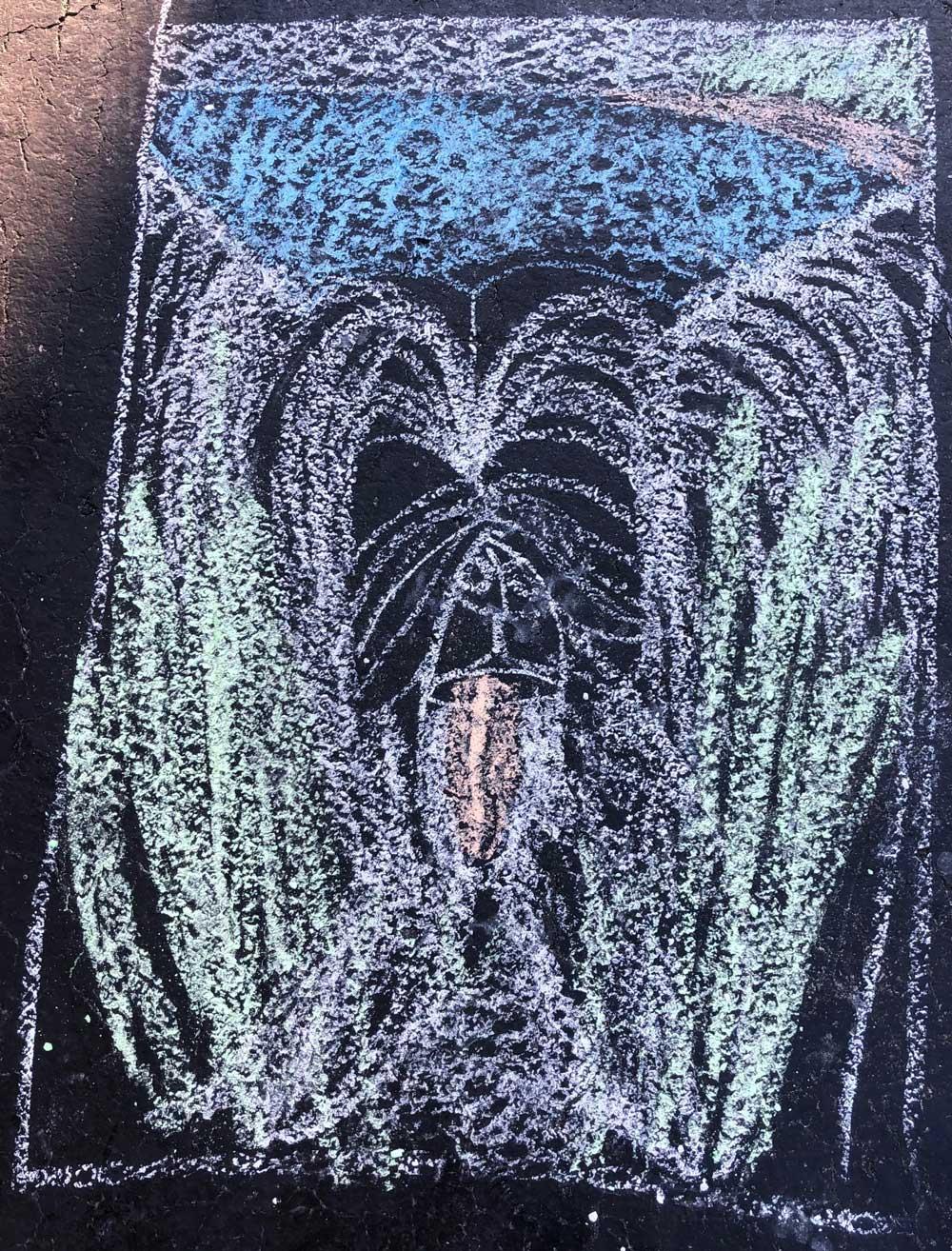 Children's sidewalk chalk drawing of Sunny the shaggy dog
