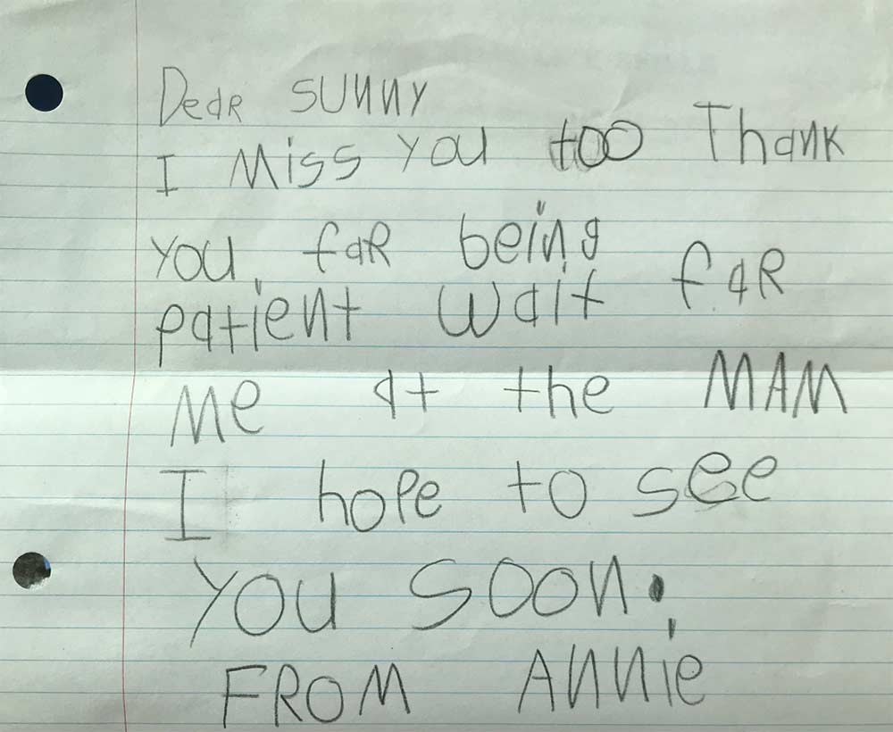Child's handwritten letter to Sunny saying she can't wait to visit again