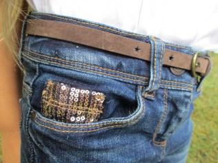 Détail paillettes jean slim fille Tape à l'Oeil