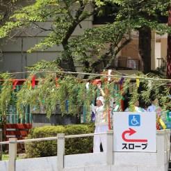 Dekorationen für das folgende Tanabata-Matsuri