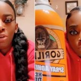 Woman puts gorilla glue on hair