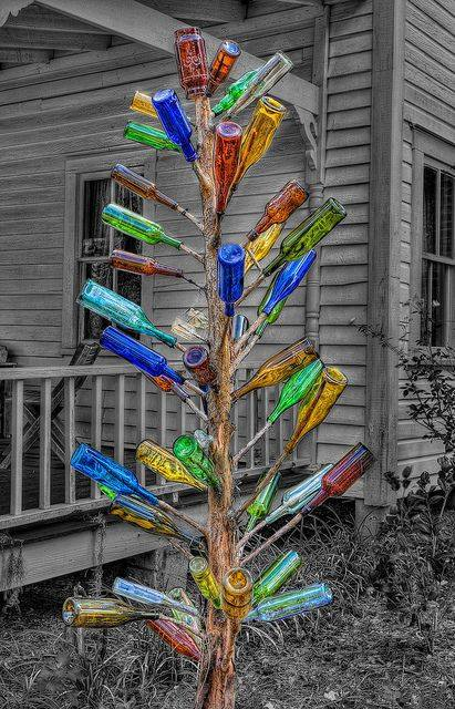 upcycle glass bottle ideas diy tree