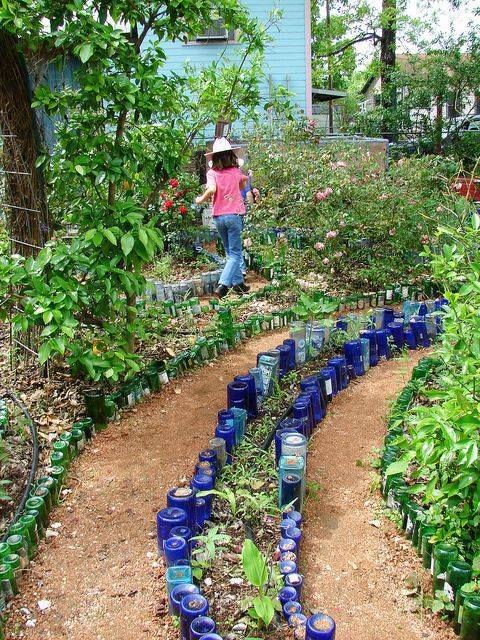 upcycle glass bottle ideas pathway