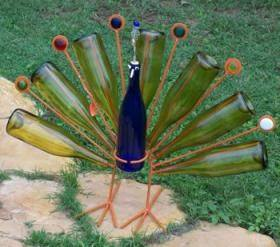 upcycle glass bottle ideas peacock