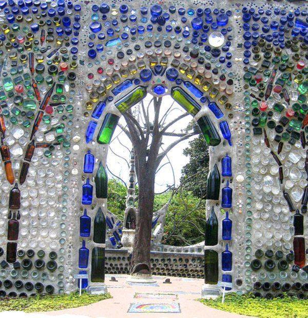 upcycle glass bottle ideas temple wall