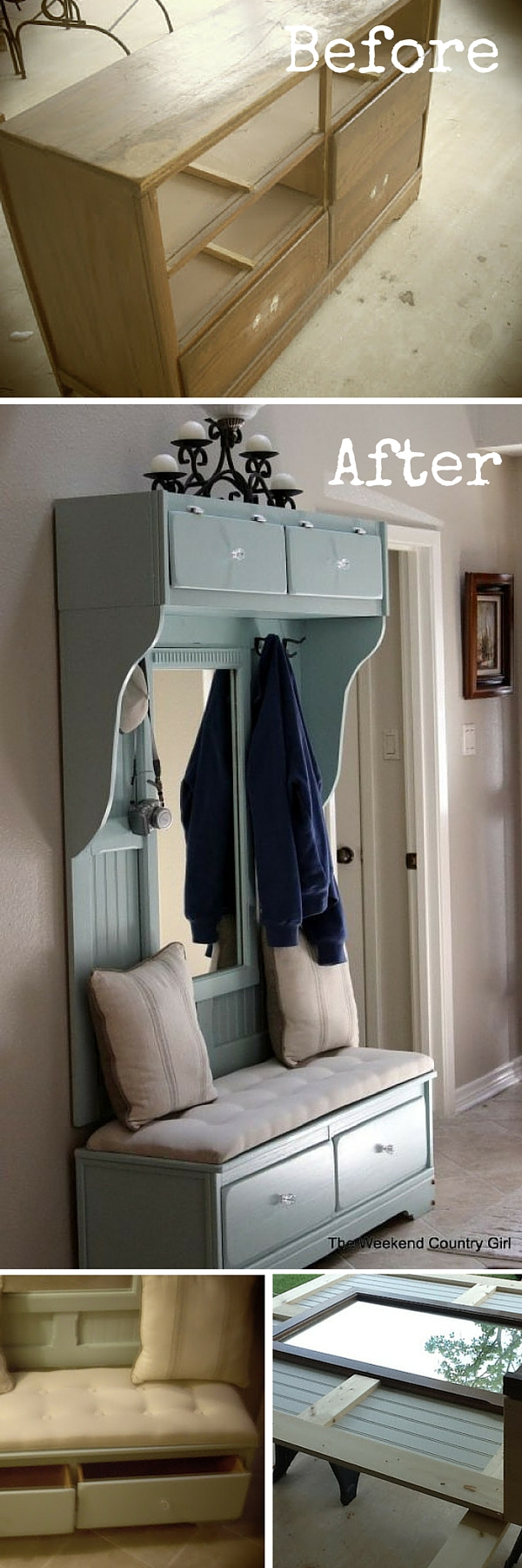 upcycled furniture upcycling reuse DIY The handy mano manomano dresser mudroom