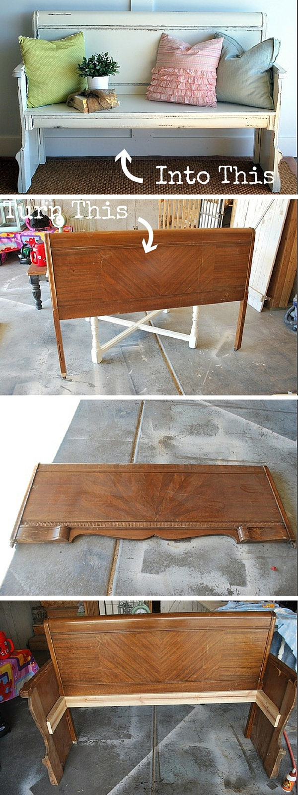 upcycled furniture upcycling reuse DIY The handy mano manomano headboard bench