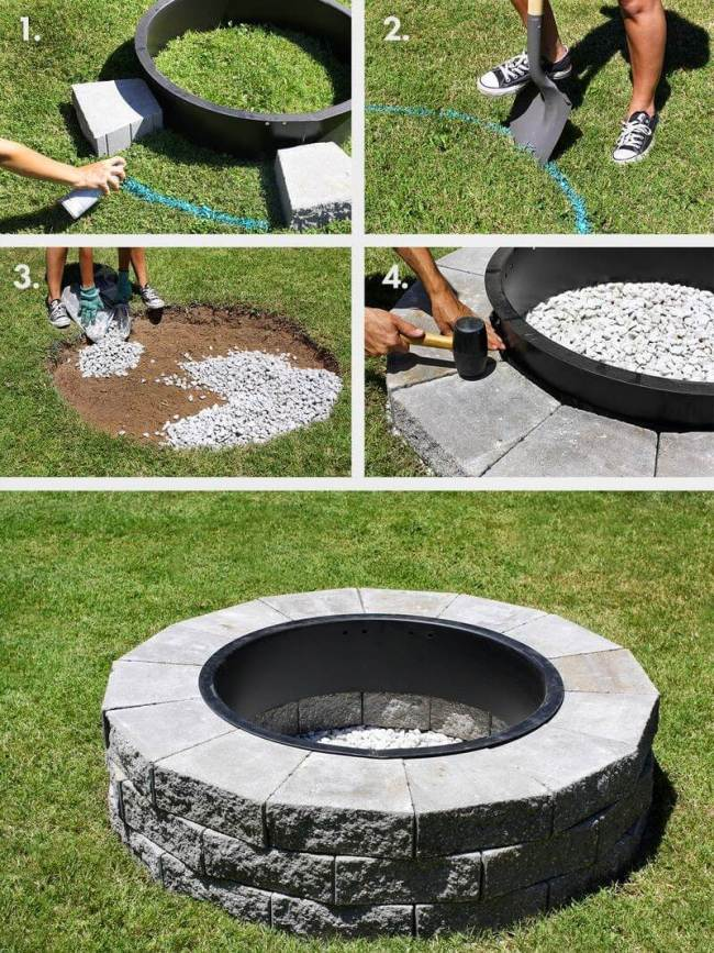outdoor DIY fire pit ideas designs how to build the handy mano manomano