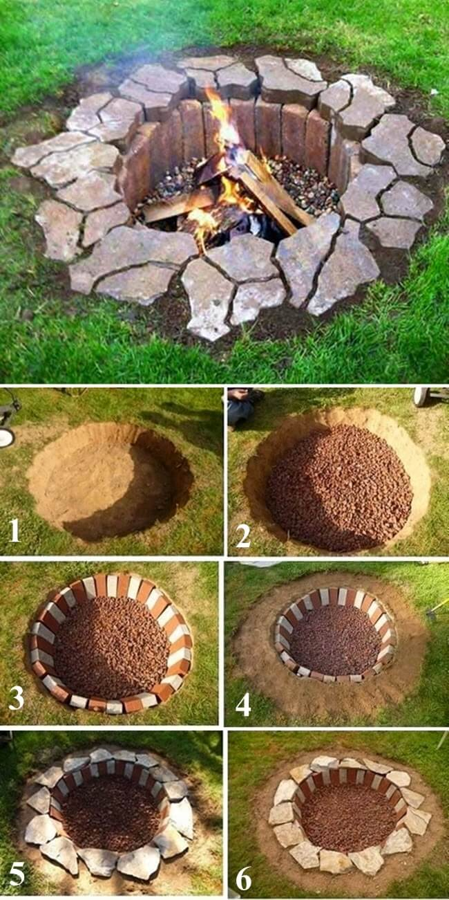 outdoor DIY fire pit ideas designs how to build the handy mano manomano dug in recessed stone simple easy cheap
