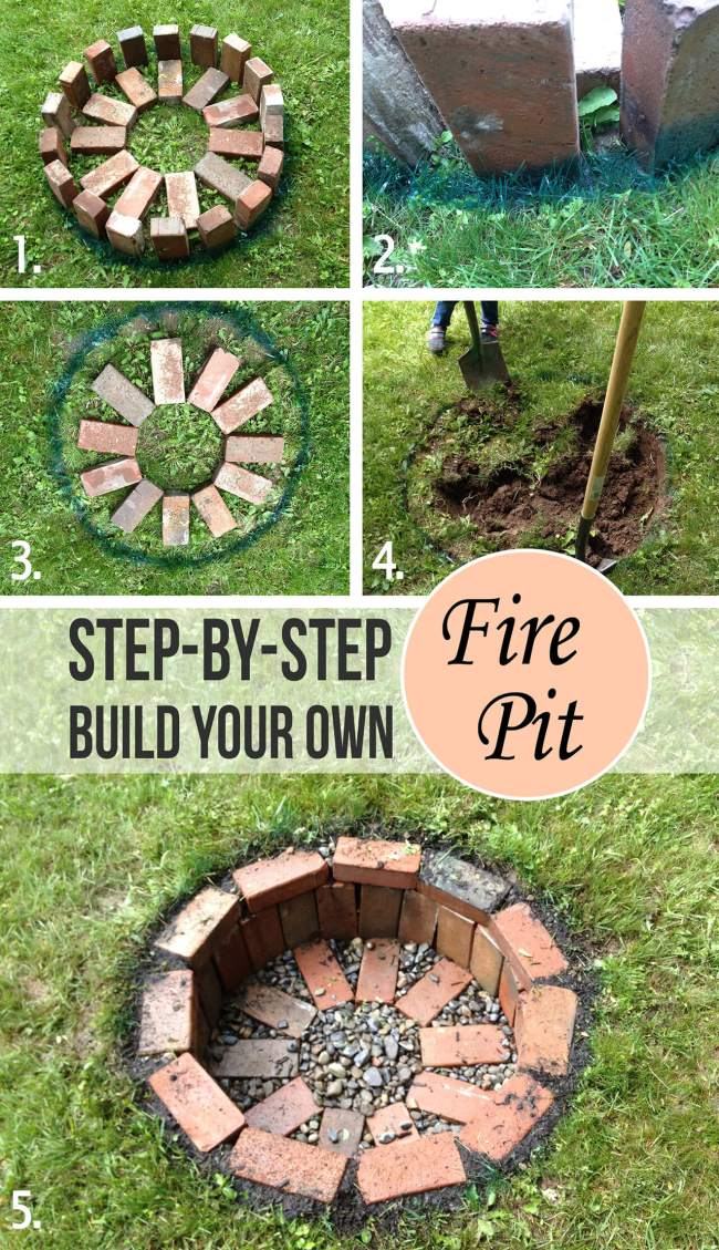 12 Easy and Cheap DIY Outdoor Fire Pit Ideas - The Handy Mano on Backyard Fire Pit Ideas Diy id=88195
