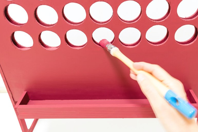 DIY connect 4 giant build your own homemade kids games activities children holidays painting wooden red