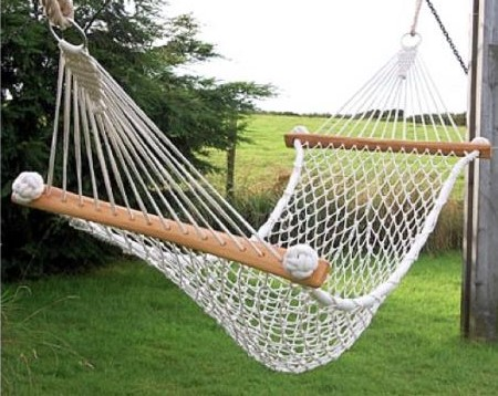 how to make a hammock The handy mano manomano diy build homemade white rope hammock garden grass