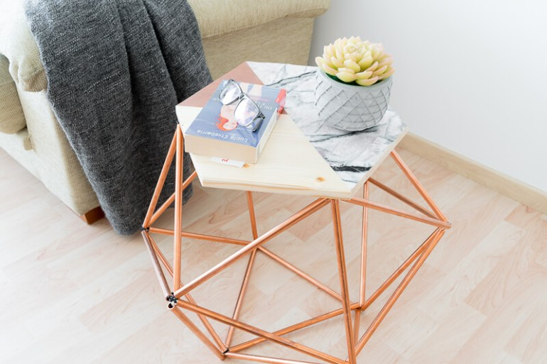 Scandi style table with copper pipes tubing Scandinavian nordic The handy mano manomano styled side table
