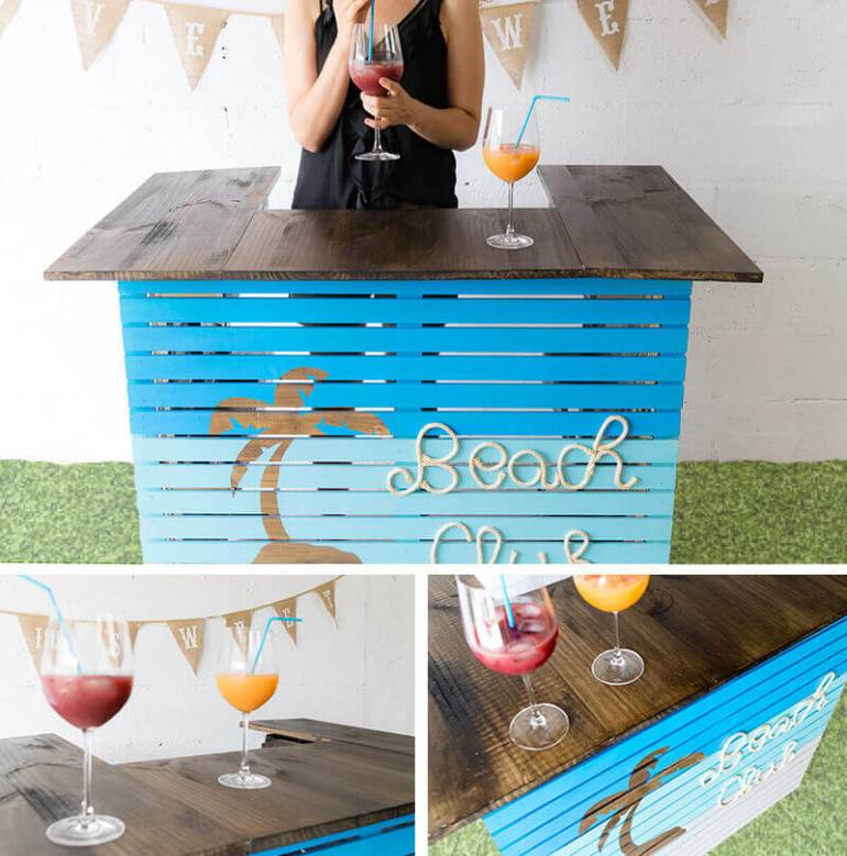 manomano mano mano the handy mano pallet bar wood pallet projects diy do it yourself completed project painted palm tree beach club drinks alcohol