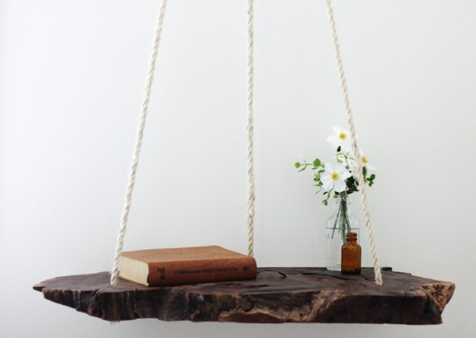 DIY Side Table bedside hanging wood diy do it youseld manomano mano mano thehandymano wood slab
