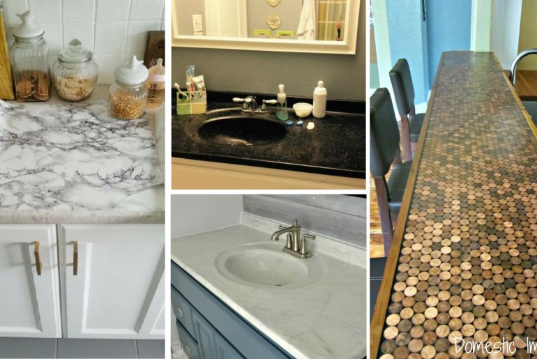 7 Ways To Redo Your Countertops Without Replacing Them the handy mano manomano mano diy do it yourself projects home improvement kitchen makeover transformation counter top penny resin marble concrete cement