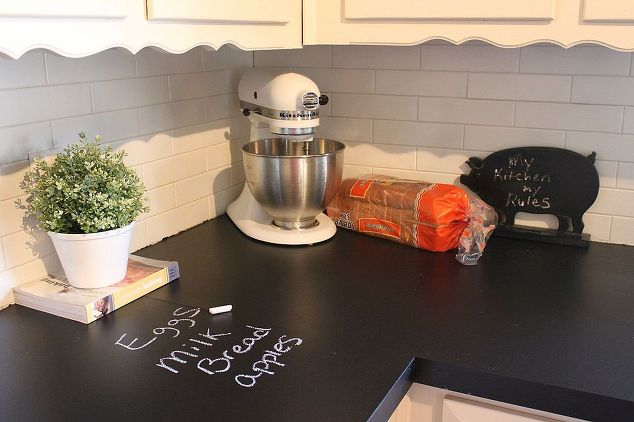 7 Ways To Redo Your Countertops Without Replacing Them the handy mano manomano mano diy do it yourself projects home improvement kitchen makeover transformation counter top chalkboard