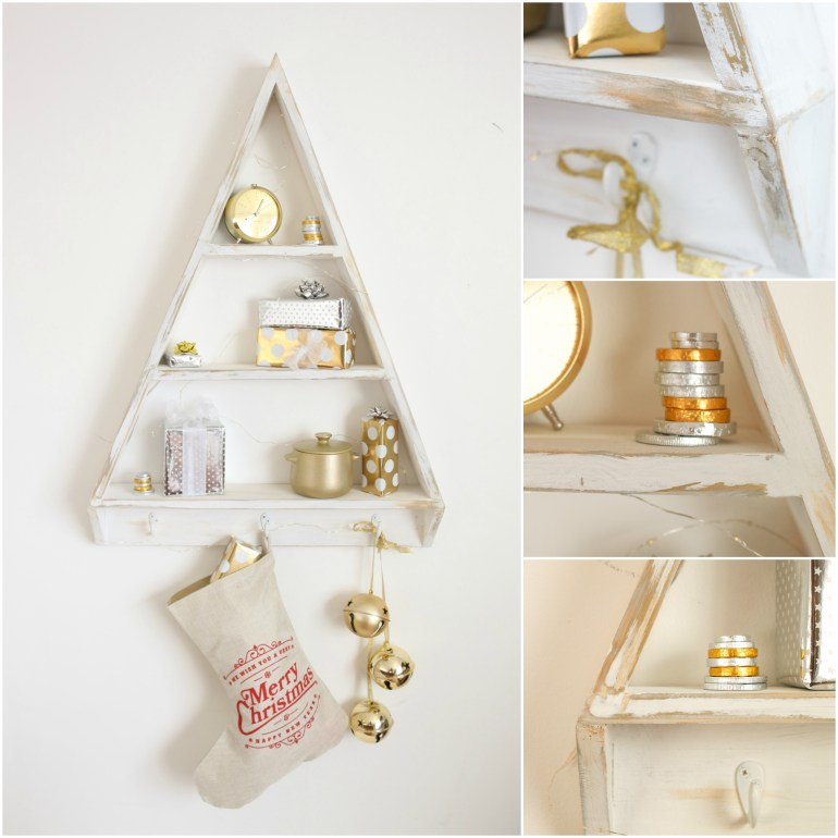 DIY Christmas Tree Shelves - Alternative Christmas Tree do it youself manomano the handy mano thehandymano mano festive stockings decor decorations reusable gold white brushed vintage
