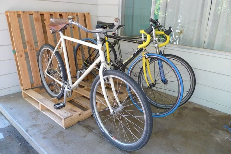10 Interesting DIY Bike Storage Ideas bike rack indoor display stand hook cool pallet pallets