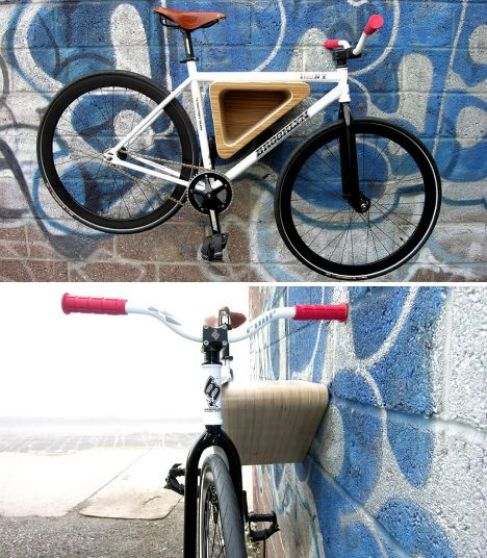 10 Interesting DIY Bike Storage Ideas bike rack indoor display stand hook cool wood wooden triangular sheets plywood