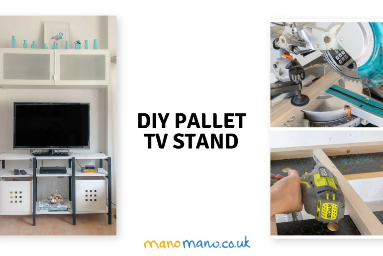 Pallet TV stand DIY project thehandymano mano mano