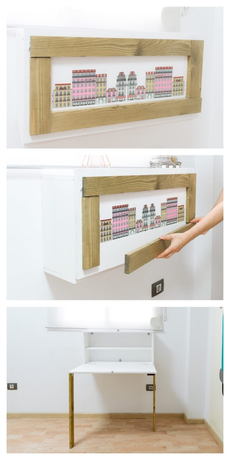 DIY Framed Picture Folding Desk Furniture for Small Spaces design a workspace diy do it yourself the handy mano thehandymano mano mano manomano finished product murphy