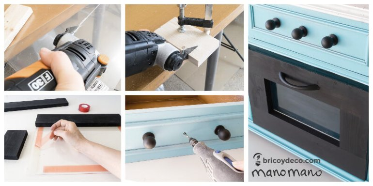 diy play kitchen kids playroom upcycle do it youself handy mano manomano